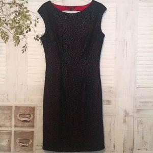 Alberto Makali black eyelet lace red lining dress